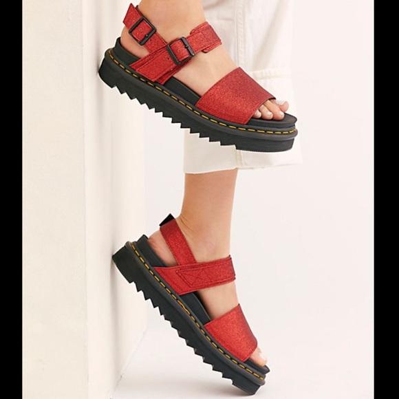 Dr Martens Voss Red Glitter Sandals